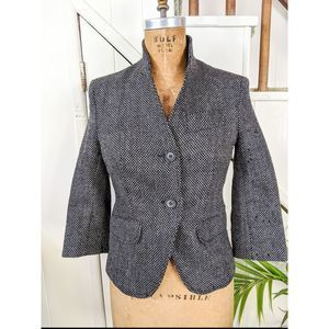 French Connection Wool Cropped Tweed Blazer Size 4